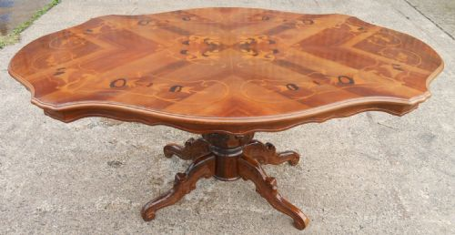 Large Victorian Style Inlaid Walnut Shaped Top Pedestal Dining Table